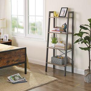 VASAGLE Standregal, 56 x 34 x 137,5 cm, Bücherregal, 4 Ebenen Leiterregal, stabiles Metallgestell, einfache Montage, greige-grau LLS44MG
