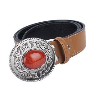 Herren Ledergürtel Leder Herrengürtel Metallschnalle Wechselgürtel Braun wie beschrieben