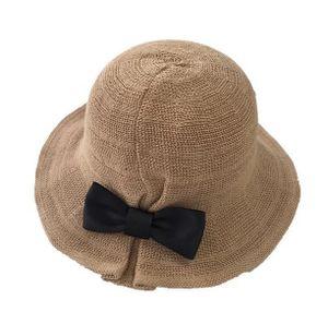 Damenhüte Faltbare Mode Sonnenhut Bogen Strohhüte Strand Sonnenhut Krempe Mütze