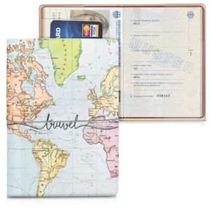 kwmobile Reisepass Kunststoff Schutzhülle - Ausweis Hülle Impfpass Schutz - Cover Reisepasshülle Ausweishülle - 3D Travel Schriftzug