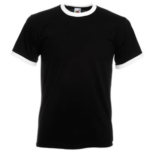 Fruit Of The Loom Herren Ringer T-Shirt BC342 (M) (Schwarz/Weiß)