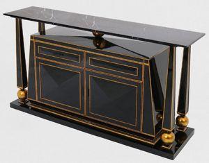 Casa Padrino Luxus Art Deco Sideboard Schwarz / Antik Gold - Prunkvoller handgefertigter Massivholz Schrank mit Marmorplatte - Art Deco Möbel