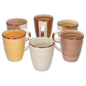 6tlg. Kaffeetassen Set Sandy für 6 Personen Tasse XL 300ml Pott edles Porzellan-Geschirr Kaffee