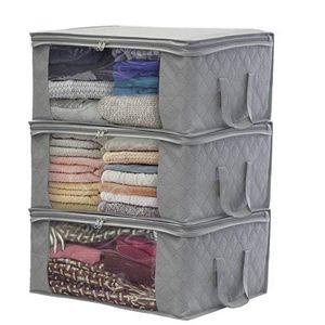 3 Stück Faltbare Staubdichte Aufbewahrungsbox Kleidung Steppdecke Aufbewahrungsbox -Grau 49 × 36 × 21 Cm