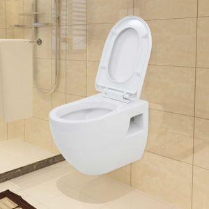 Chunhe Wand-WC Toilette Tiefspül-Stand-WC Tiefspüler Toilette mit WC-Sitz Badezimmer Keramik Weiß