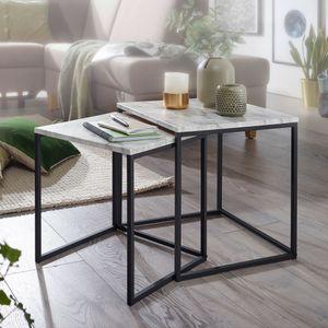 WOHNLING Design Beistelltisch 2er Set Marmor Optik Weiß | Couchtisch 2 teilig Tischgestell Schwarz | Kleine Wohnzimmertische | Moderne Satztische