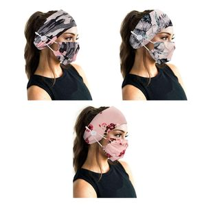 3 Sätze Stirnband mit Knopfmaske (rosa Blume, rosa Blätter, rosa Tarnung)