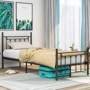 Merax Metallbett 90 x 200cm Metallbetten Hochwertiger Metallbettrahmen mit Kopf- und Fußteil, Bett für Schlafzimmer der Kinder, Jugendliche und Erwachsene, Jugendbetten, Schwarz