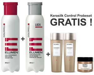 Goldwell Elumen Haarfarbe [RR@all Rot] 200ml + 250ml Lock Versiegelung + Kerasilk Control Shampoo 30ml + Conditioner 30ml + Maske 25ml