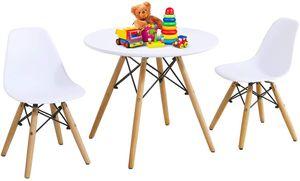 COSTWAY 3tlg. Kindersitzgruppe, Kindermöbel Set, Kindertisch, Kindertischgruppe, weiß