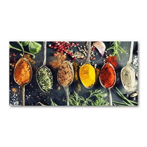 Tulup® Küchenrückwand Spritzschutz aus Glas -100x50 -Spritzschutz auf gehärtetes GlasDeko Essen & Getränke Bunte Gewürze