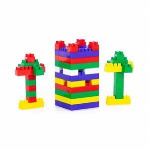 Polesie 0293, Bausteine 96-teiliges Set, bunte Bausteine zum Stecken im Beutel bunt