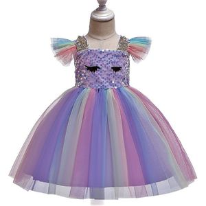 Mädchen Einhorn Party Kleid  Pailetten Rüschen Geburtstag Prinzessin Tüll Kleid