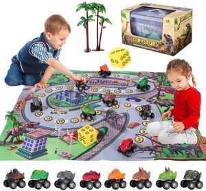 8 Stück Dinosaurier Spielzeug Figuren Set mit Spielmatte Geschenke für kinder, Dinosaurier Auto Spielzeug set