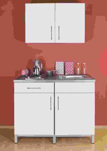Singleküche Rack Time Singel in Lack weiß hochglanz 120 cm mit Chrom Kochmulde und Spüle