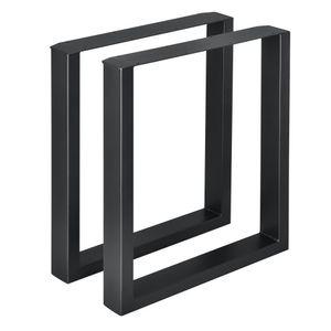 [en.casa]® 2x Tischgestell - 60 x 72cm Schwarz - Esstischgestell Tischuntergestell Tischkufen Tischbein