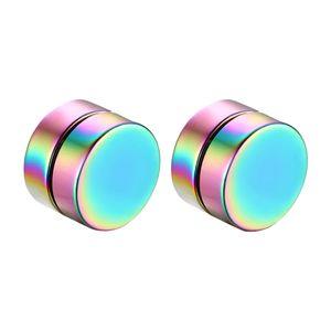 Magnet Ohrstecker Magnet Ohne Loch Fakeplugs Expander Ohrringe Ohrschmuck Zucht Regenbogen, schwarz