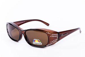 Figuretta Sonnenbrille Überbrille in braun mit Strass