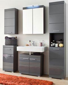 Bad Möbel Set Hochglanz grau Badezimmer komplett 5-tlg Badset Amanda - 139390121