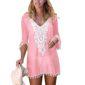 Plus Size Sommer Frauen Strand tragen Spitze Häkeln Pompon Trim Bikini Cover Up Kleid Pink XL