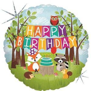 1 Folienballon Happy Birthday Waldtiere Eule Fuchs Igel Waschbär Eichhörnchen bunt 46 cm ungefüllt