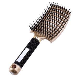 LOZAYI Frauen Kopfhaut Massage Kamm Mähne und Nylon Haarbürste Gold