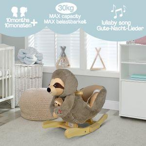 Infantastic® Plüsch Schaukeltier - Faultier, Modellwahl, für Babys und Kinder, Haltegriff und Rückenlehne, ab 1 Jahr, mit Gurt, mit Lied - Schaukelpferd, Schaukeltier, Schaukelstuhl, Schaukelspielzeug