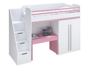 Polini City Hochbett Kombination mit Treppe Schrank Tisch weiß rosa