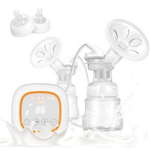 Milchpumpe Elektrische Brustpumpe Wiederaufladbare Doppelmilchpumpe mit Brustmassage LCD Display Anti zurückströmen Stillpumpe 16 Stufen mit 2 Babyflaschen