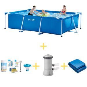 Intex Frame Pool - 300 x 200 x 75 - Inklusive WAYS Wartungspaket, Filterpumpe & Bodenplane