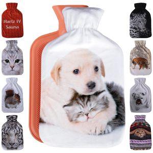 Wärmflasche mit Motiv 2 Liter, Wärmekissen mit abnehmbaren Flauschigen Bezug in vielen Variationen ( Auswahl: Hund & Katze )