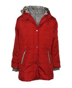 Steppjacke Parka Mantel Übergangsjacke Herbstjacke Frühling Outdoor Jacke rot, Größe:S