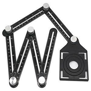 6 Seitiges Winkelmesslineal Winkelmesser Lineal Messgerät Messen Werkzeug D Neu-