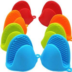 4 Paar Silikon Topflappen Ofen Mini Handschuhe Silikonofen verdicken Topflappenhandschuhe für Küche Kochen Backen