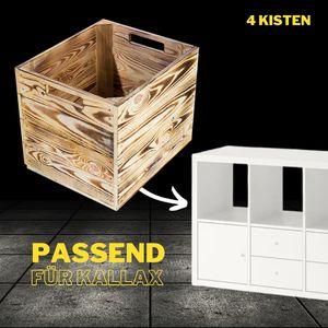 4x KALLAX KISTEN /NEU/ flambierte Kiste mit toller Holzmaserung / 32x37,5x32,5cm / passt in Ikea Kallax