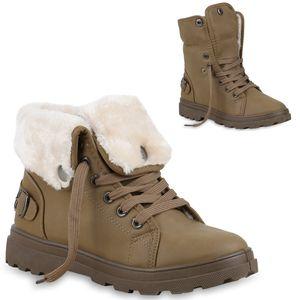 Mytrendshoe Damen Stiefeletten Winter Boots Warm Gefütterte Outdoor Schuhe 77814, Farbe: Khaki, Größe: 38