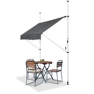 Juskys Klemmmarkise Kuwait 250 x 120 cm – höhenverstellbar - Sonnenschutz mit Kurbel - ohne Bohren – Balkonmarkise aus Metall & Polyester – Grau