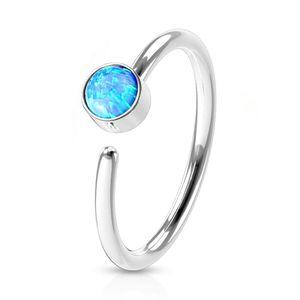viva-adorno 0,8mm Nasenring Nasenpiercing Piercing Hoop Ring Opal Tragus Helix Cartilage Rook Ohrpiercing Z520, silber / türkis