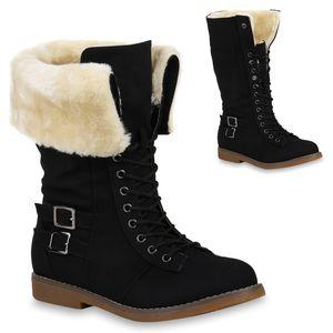 Mytrendshoe Damen Schnürstiefel Warm Gefütterte Stiefel Kunstfell Schnallen 820151, Farbe: Schwarz, Größe: 36
