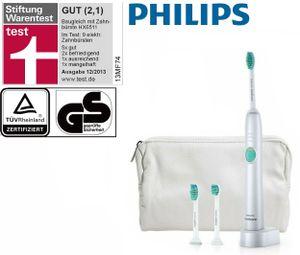 Philips Sonicare EASY-CLEAN Elektrische Zahnbürste -  GUT NOTE 2,1 - inkl. 3 BÜRSTEN + REISEETUI im Wert von 20 €, AKKU Schall-Zahnbürste mit 62000 U/Min, Zahn-Bürste KINDER geeignet