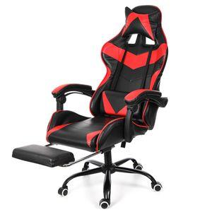 Meco Bürostuhl Drehstuhl Schreibtischstuhl Gaming-Stuhl 150 Grad liegend mit Fußstütze Bürosessel Ergonomisch gestaltet Red