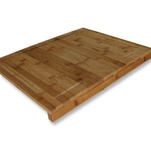 XL Schneid- und Backbrett mit Anschlagleisten Küchenbrett Bambus