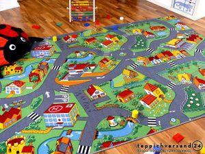 Kinder Spiel Teppich Little Village Grün, Größe:80x160 cm