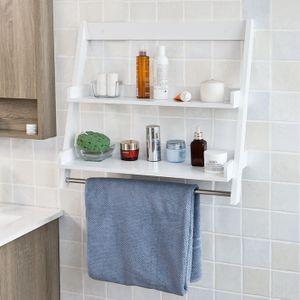 SoBuy® Wandregal,Handtuchhalter,Badregal mit 2 Ablagen und einer Stange,FRG117-W