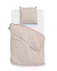Zo!Home Bettwäsche Lino 1 Bettwäsche 135x200cm mit 1 Kopfkissen 80x80cm 100% Baumwolle Sandy Beige
