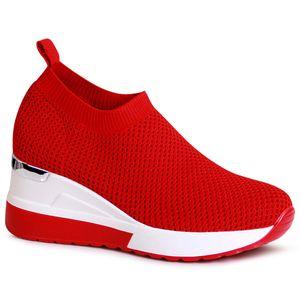 topschuhe24 2005 Damen Plateau Sneaker Halbschuhe Keilabsatz, Farbe:Rot, Größe:38 EU