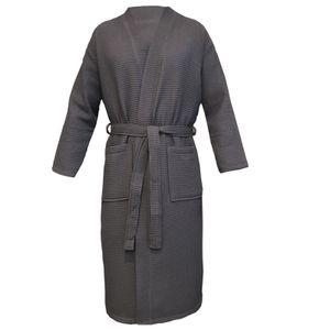 Waffel Pique Bademantel Anthrazit Größe XL 100% Baumwolle für Damen und Herren Reisebademantel HOMELEVEL