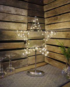 LED-Draht-Standstern 'Double Side' | chromfarben | Metall | ca. 37 cm x 48 cm | Weihnachtsstern | Lampe | Stern | Dekostern | Fensterdeko | Standleuchte | Beleuchtung