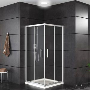 Oimex OT Duschkabine Eckeinstieg mit Verstellbereich, OHNE Tasse, Echtglas, Schiebetüren mit Leichtlaufrollen, Größe 90 x 90 x 180 cm. Version: Klarglas