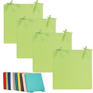 4x Outdoor Stuhlkissen 40x40cm viele Farben Lounge Kissen Wasserfest Sitzkissen Garten Lotus Effekt, Farbe:Grün
